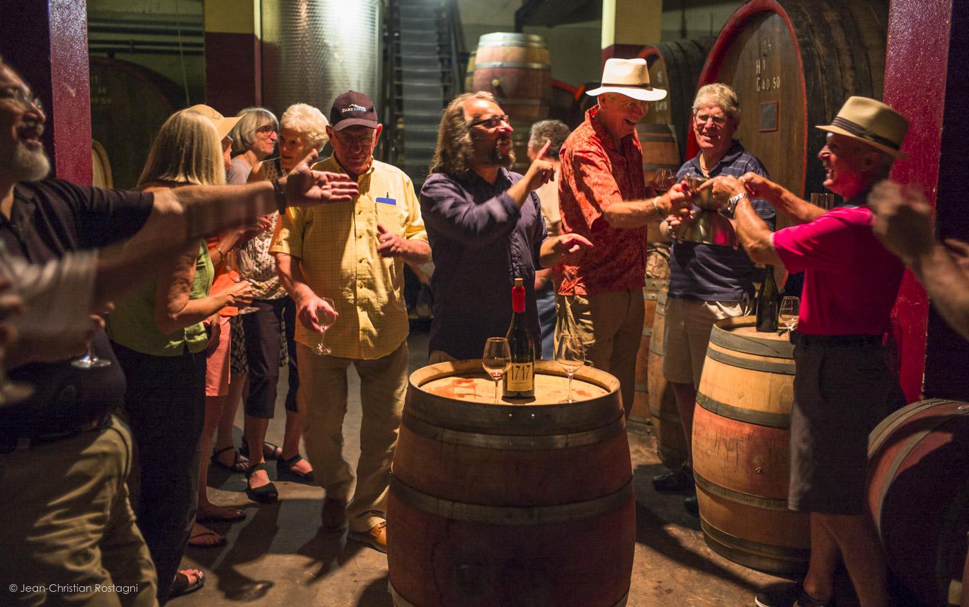 Wine tasting off the barrels
