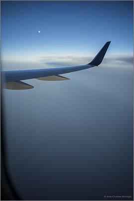 transatlantic flight, moon